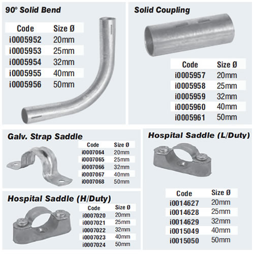 Steel conduit fittings solid bend and coupling